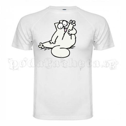 Бяла мъжка тениска - Стикер котка 2