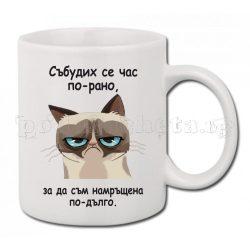 Бяла керамична чаша - Grumpy cat 9