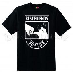 Черна мъжка тениска - Best Friends For life - Котка