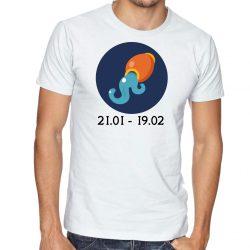 Бяла мъжка тениска - Зодия Водолей
