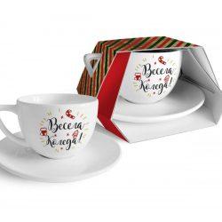 """Коледна чаша с чиния """"Весела Коледа"""" - 400мл"""