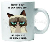 Бяла керамична чаша - Grumpy Cat 39