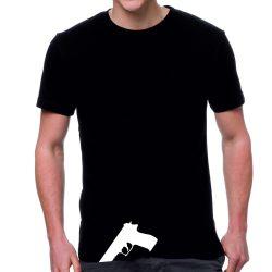 Черна мъжка тениска - Пистолет