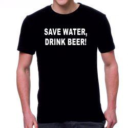 Черна мъжка тениска - Save water, drink beer