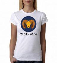 Бяла дамска тениска - Зодия Овен