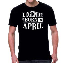 Черна мъжка тениска - Legends are born in April