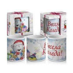 """Коледна чаша с мече и лампички в кутия """"Весела Коледа"""""""