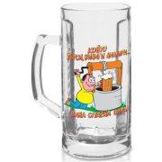 Забавна стъклена халба за бира - Който пие бира не умира