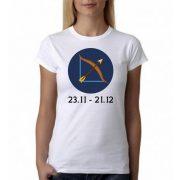 Бяла дамска тениска - Зодия Стрелец
