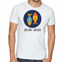 Бяла мъжка тениска - Зодия Риби