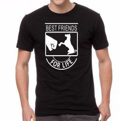 Черна мъжка тениска - Best Friends For Life - Куче