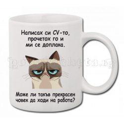 Бяла керамична чаша - Grumpy Cat 4
