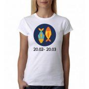 Бяла дамска тениска - Зодия Риби