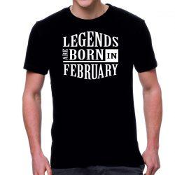 Черна мъжка тениска - Legends are born in February