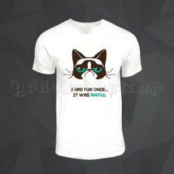 Бяла мъжка тениска - Grumpy Cat 3