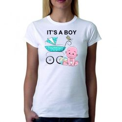 Бяла дамска тениска - It's a boy